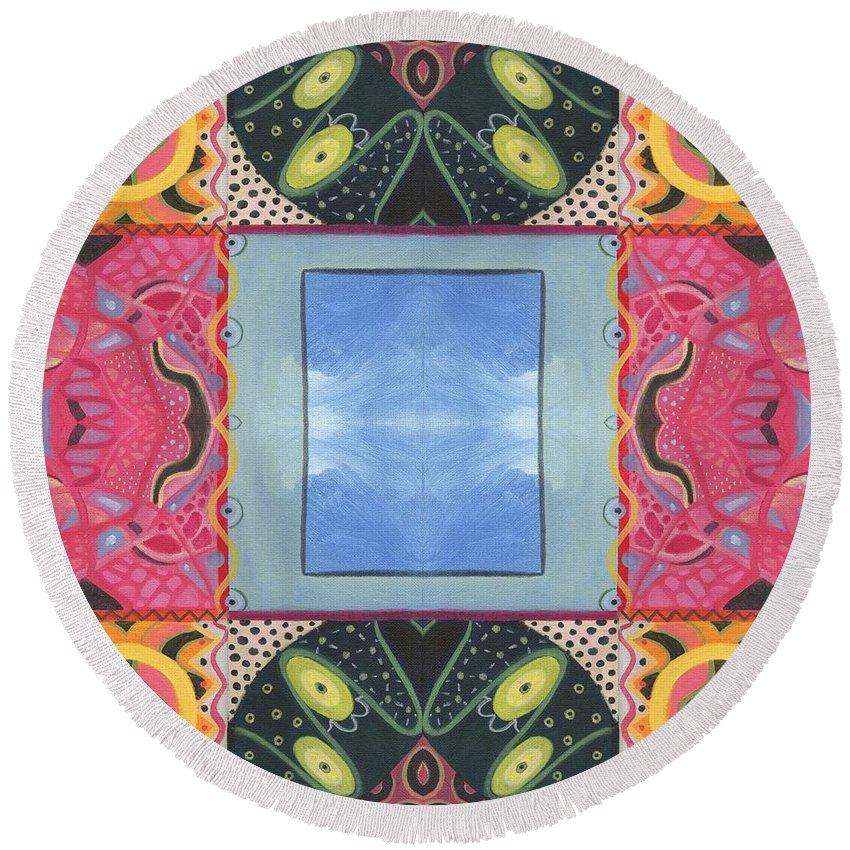 Abstract Round Beach Towel featuring the digital art The Joy Of Design I X Arrangement Windows by Helena Tiainen