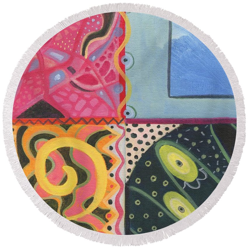 Abstract Round Beach Towel featuring the digital art The Joy Of Design I X Part 3 by Helena Tiainen