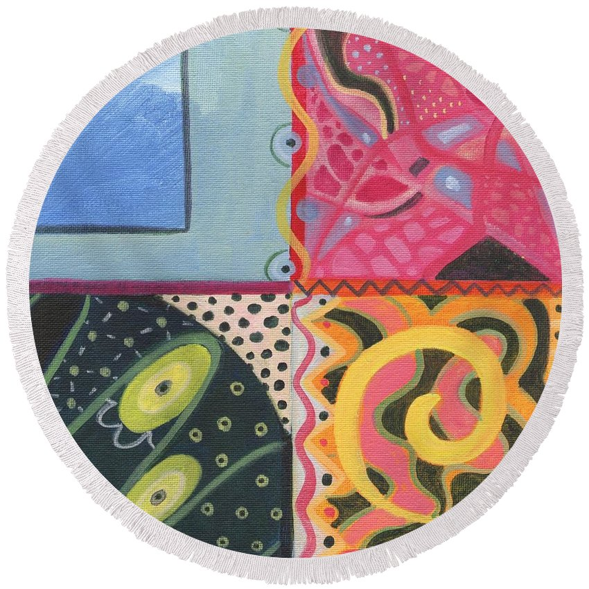 Abstract Round Beach Towel featuring the digital art The Joy Of Design I X Part 4 by Helena Tiainen