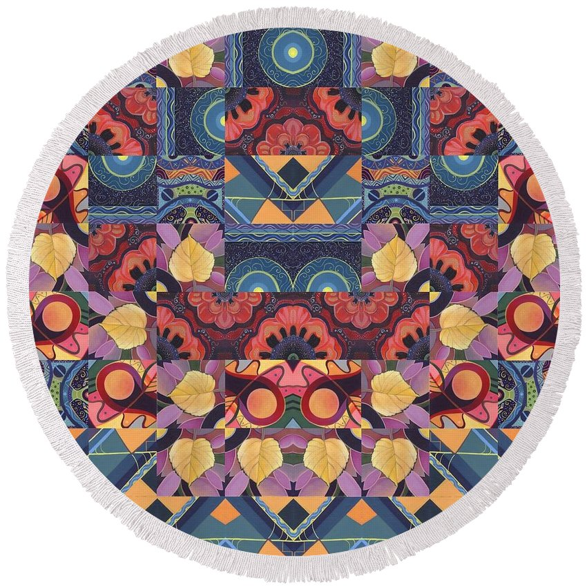 Abstract Round Beach Towel featuring the painting The Joy Of Design Mandala Series Puzzle 5 Arrangement 1 by Helena Tiainen