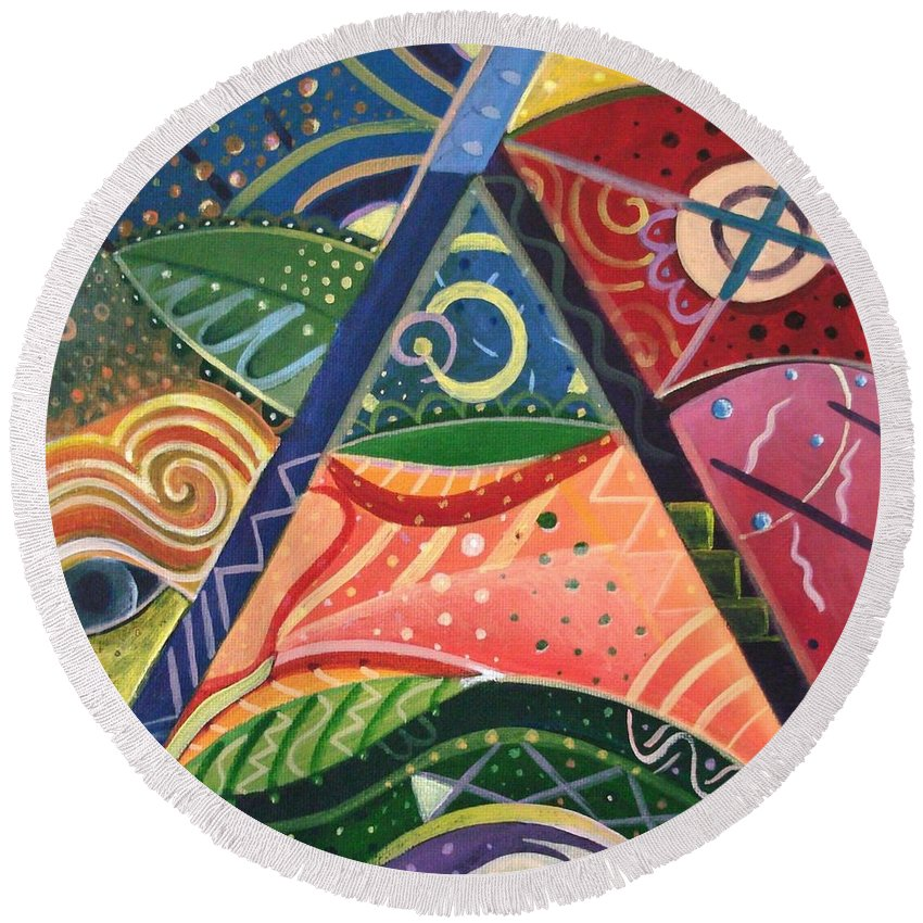 Abstract Round Beach Towel featuring the painting The Joy Of Design V Part 2 by Helena Tiainen