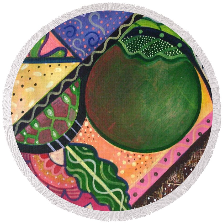 Abstract Round Beach Towel featuring the painting The Joy Of Design Vl Part 3 by Helena Tiainen