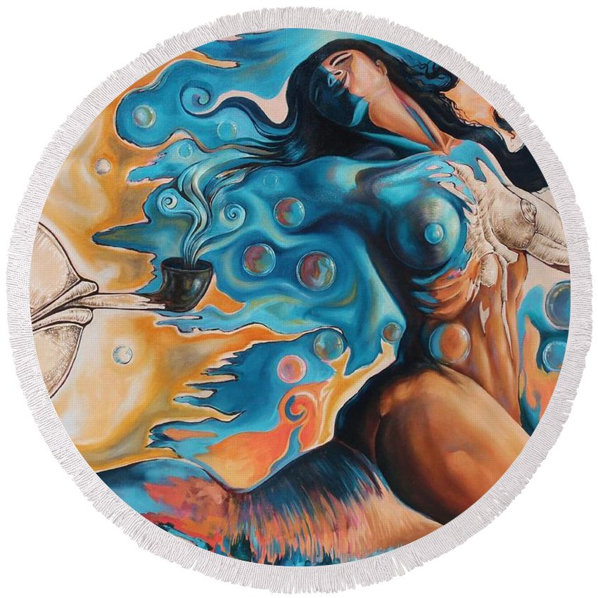 Surrealism Round Beach Towel featuring the painting On the Edge of Dreams by Darwin Leon