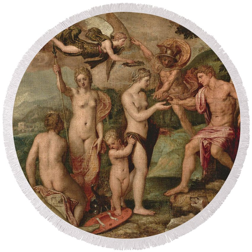 Lambert Sustris Round Beach Towel featuring the painting The Judgement Of Paris by Lambert Sustris