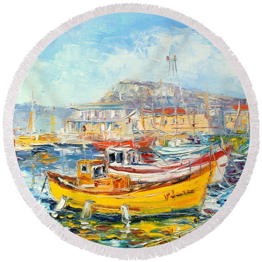 Kalk Bay Round Beach Towel featuring the painting The Kalk Bay Harbour by Luke Karcz