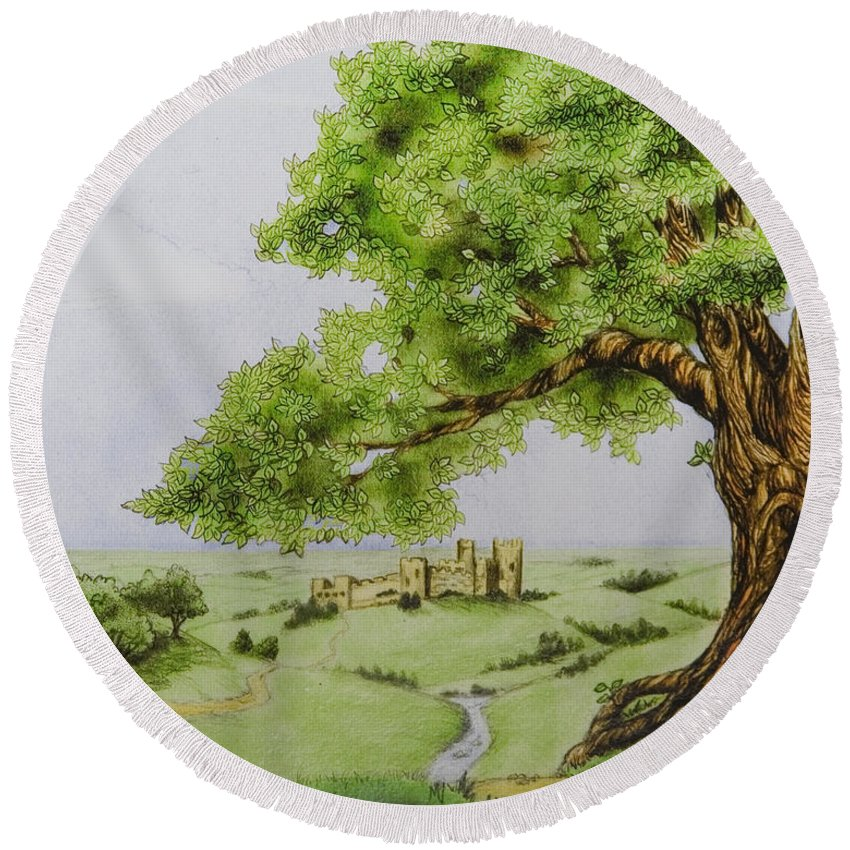 Animation Background Cartoon Castle Landscape Round Beach Towel featuring the digital art The Keep by Brenda Salamone