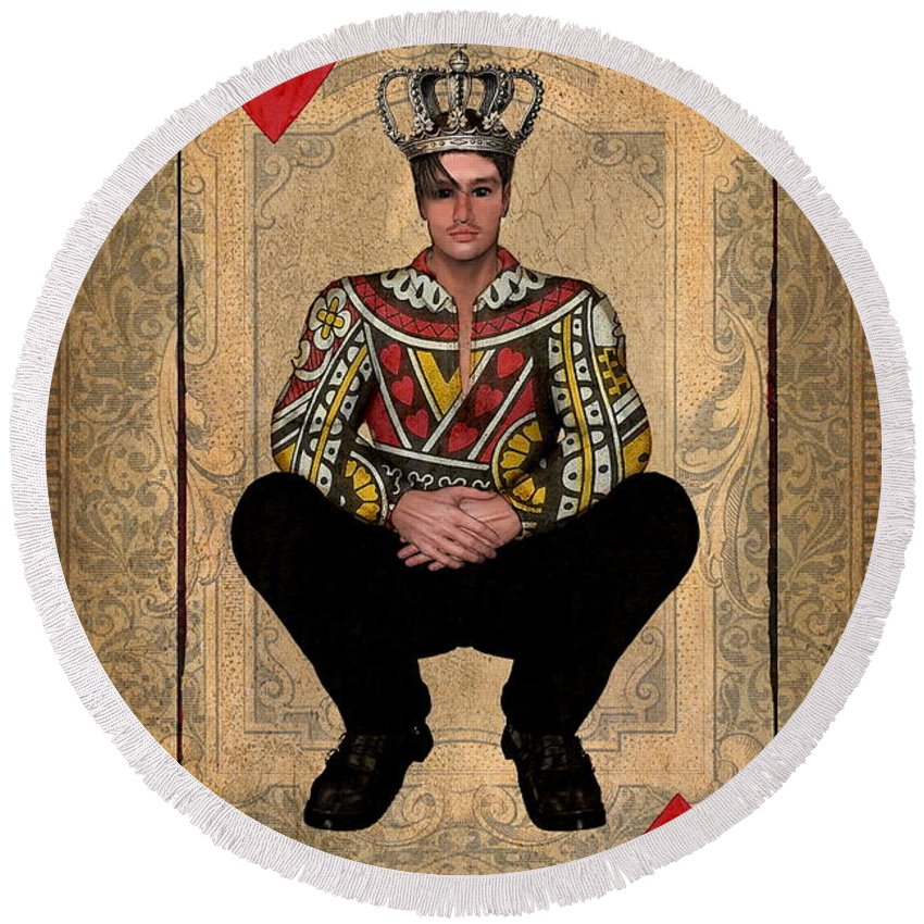 King Of Hearts Round Beach Towel featuring the digital art The King Of Hearts by Terry Fleckney