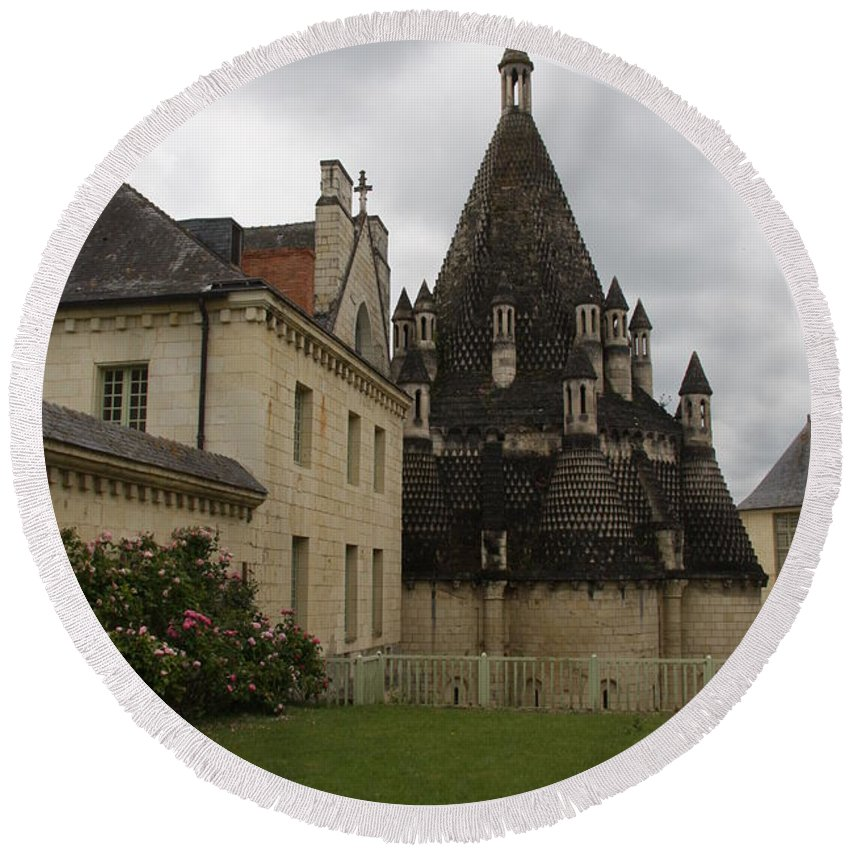 Kitchen Round Beach Towel featuring the photograph The Kitchenbuilding - Abbey Fontevraud by Christiane Schulze Art And Photography