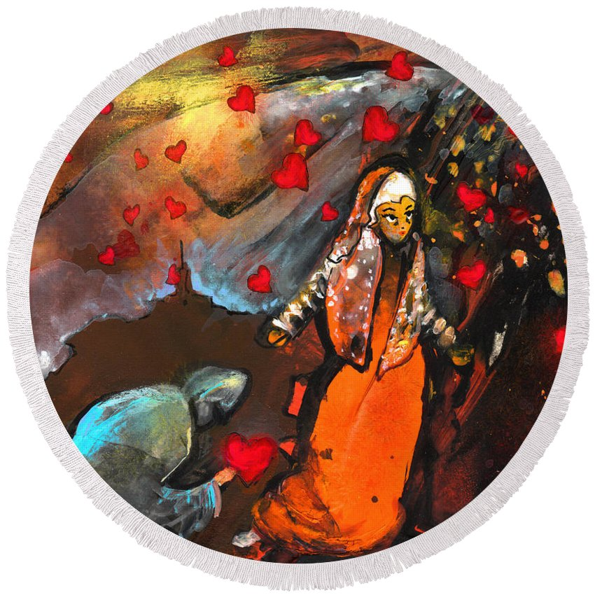 Valentine Round Beach Towel featuring the painting The Knight Of Your Heart by Miki De Goodaboom
