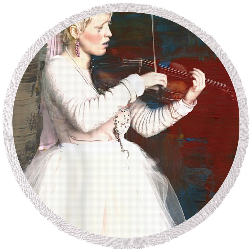 Tribal Baroque Round Beach Towel featuring the photograph The Lady With The Violin by Alice Gipson