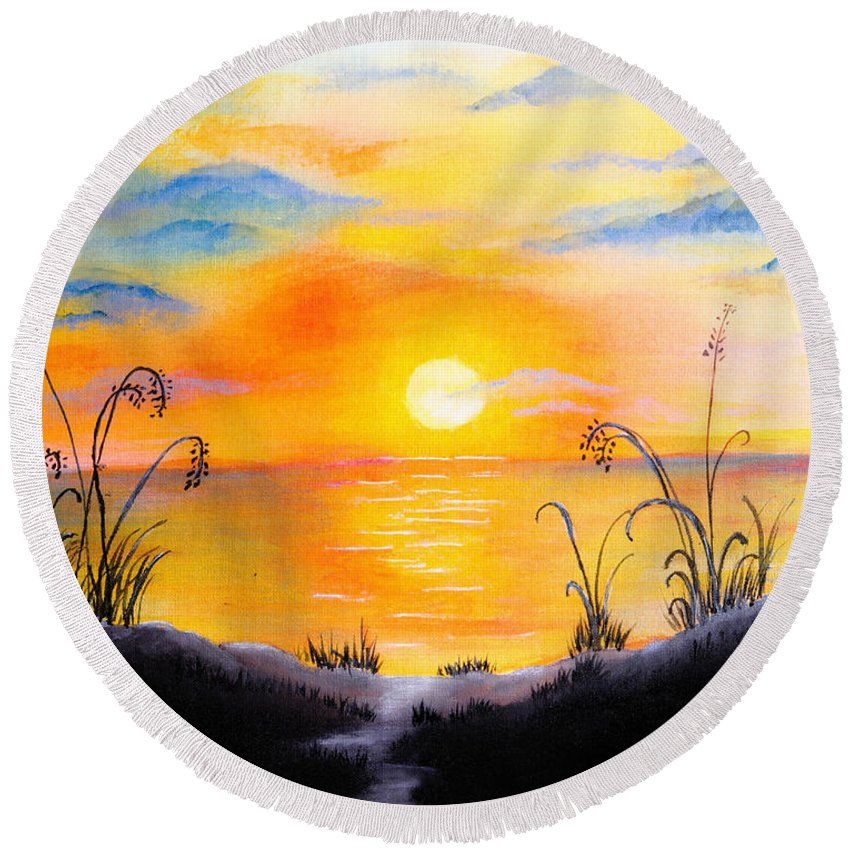 Sunset Round Beach Towel featuring the painting The Land Of The Dying Sun by Nirdesha Munasinghe
