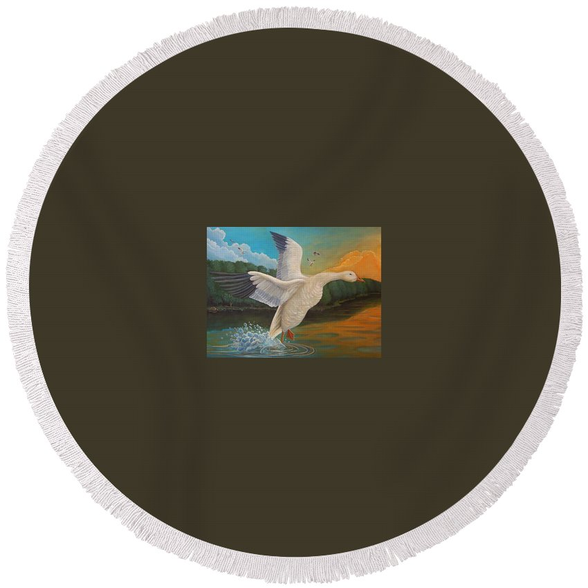 Rick Huotari Round Beach Towel featuring the painting The Landing by Rick Huotari