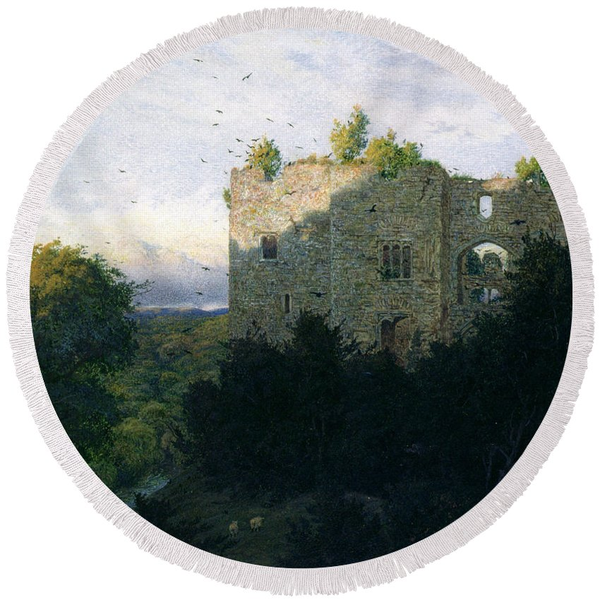 Ruin Round Beach Towel featuring the painting The Last Gleam by Walter Fryer Stocks