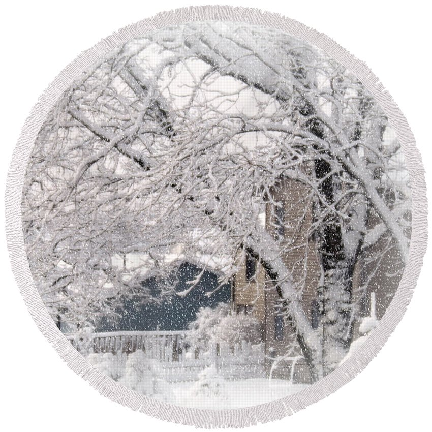 Winter Round Beach Towel featuring the photograph The Last Snow Storm by Kay Novy