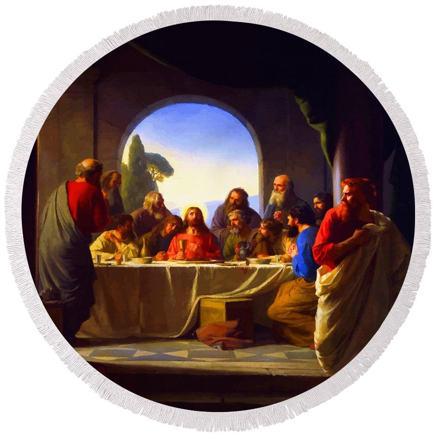 Retouched Round Beach Towel featuring the digital art The Last Supper By Carl Heinrich Bloch by Don Kuing