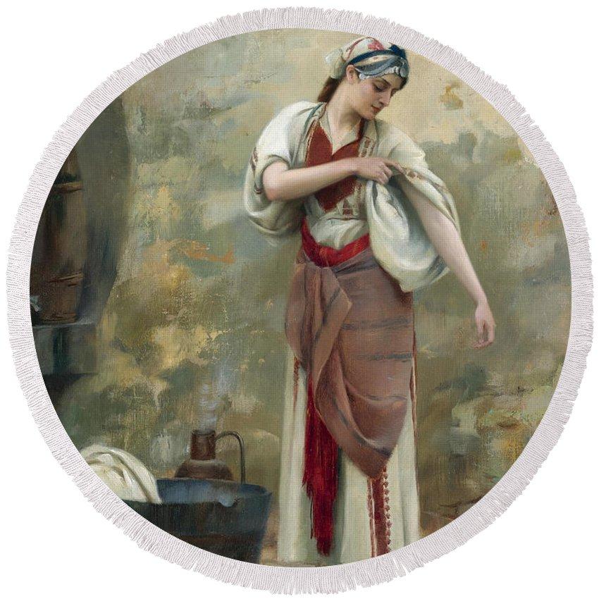 Theodoros Rallis Round Beach Towel featuring the painting The Laundress by Theodoros Rallis