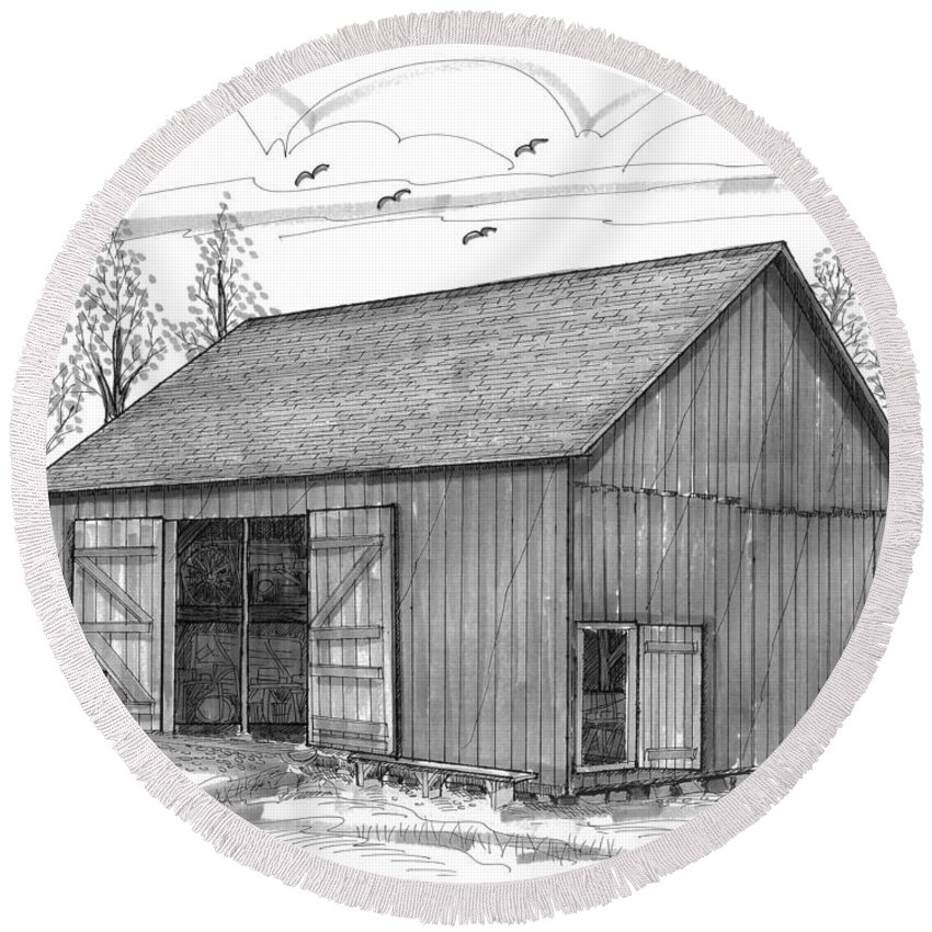 Vermont Round Beach Towel featuring the drawing The Lawrence Barn by Richard Wambach