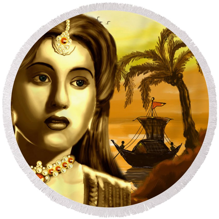 Digital Painting Round Beach Towel featuring the painting The Legend Actress Madhubala by Artist Nandika Dutt