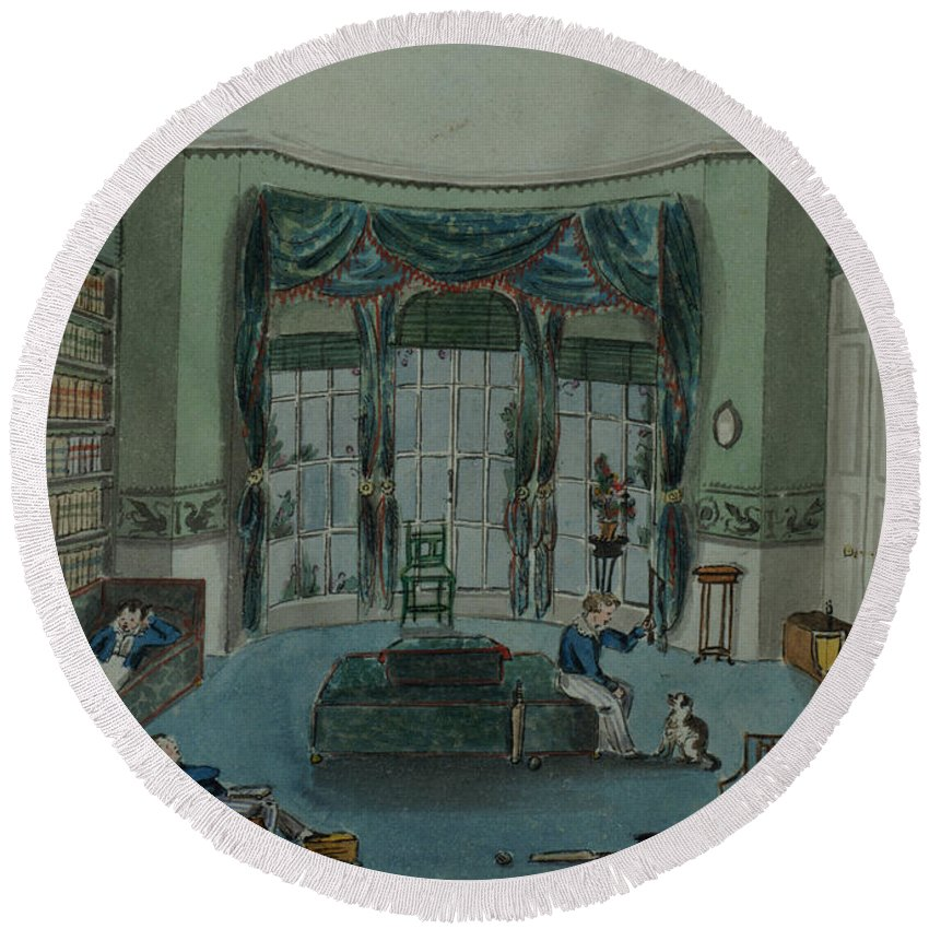 Book Shelf Round Beach Towel featuring the painting The Library, C.1820, Battersea Rise by English School