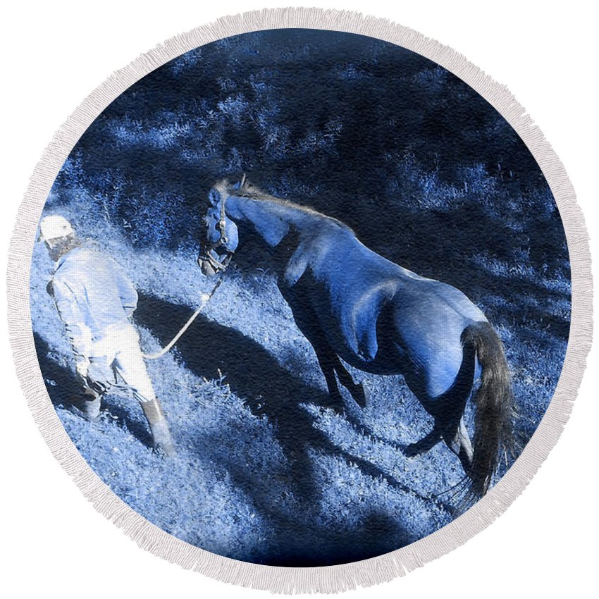 Blue Light Round Beach Towel featuring the photograph The Light And Shadows Of A Man And His Horse by Patricia Keller