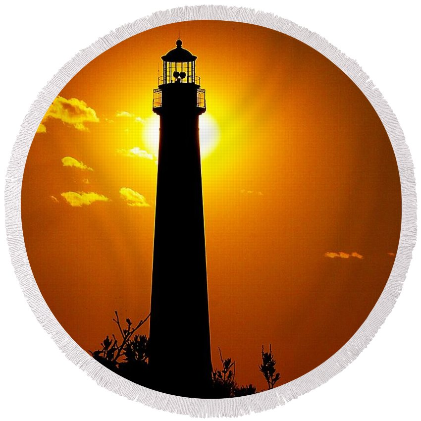 Architecture Round Beach Towel featuring the photograph The Light Of Cape May by Nick Zelinsky
