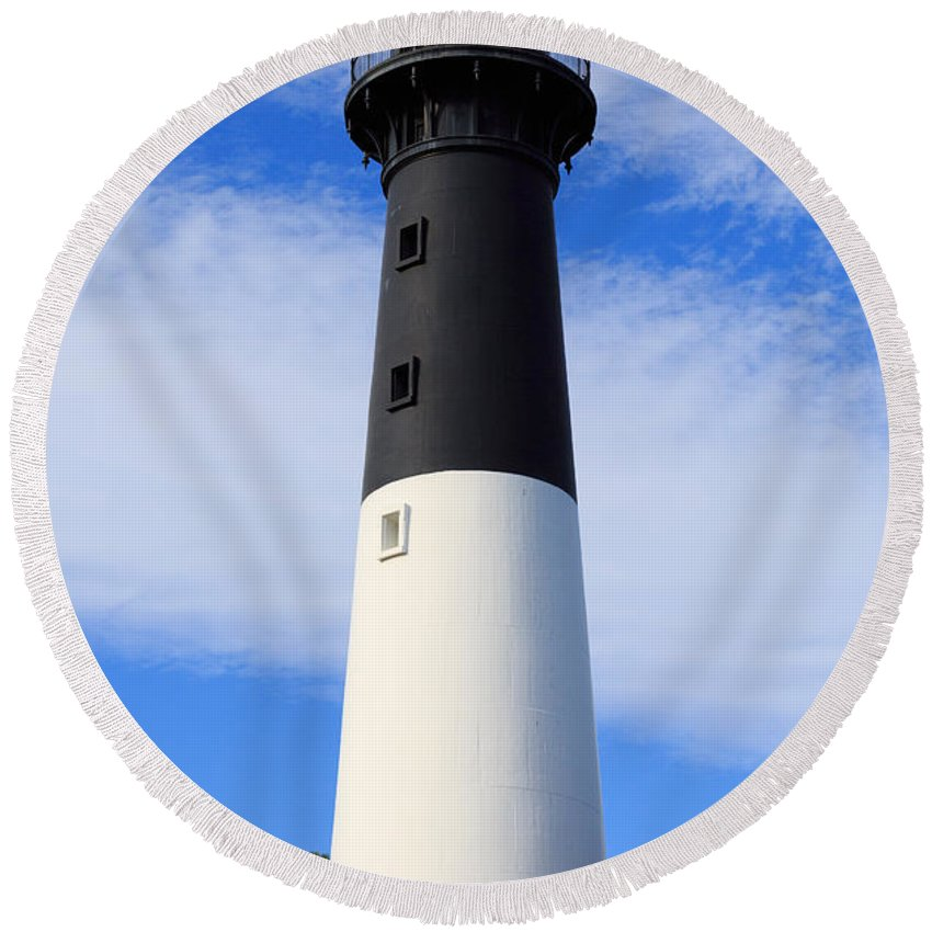Lighthouse Round Beach Towel featuring the photograph The Lighthouse At Hunting Island State Park In South Carolina by Louise Heusinkveld