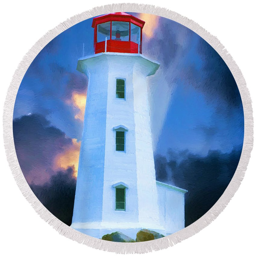 Peggys Cove Round Beach Towel featuring the painting The Lighthouse At Peggys Cove by John Haldane