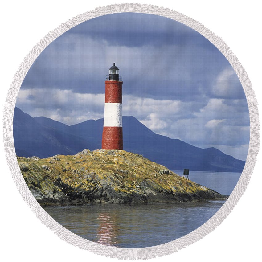 Lighthouse Round Beach Towel featuring the photograph The Lighthouse At The End Of The World by James Brunker