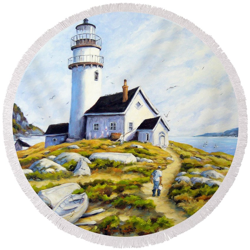 Fishing Boats; Fishermen; Bot Round Beach Towel featuring the painting The Lighthouse Keeper by Richard T Pranke