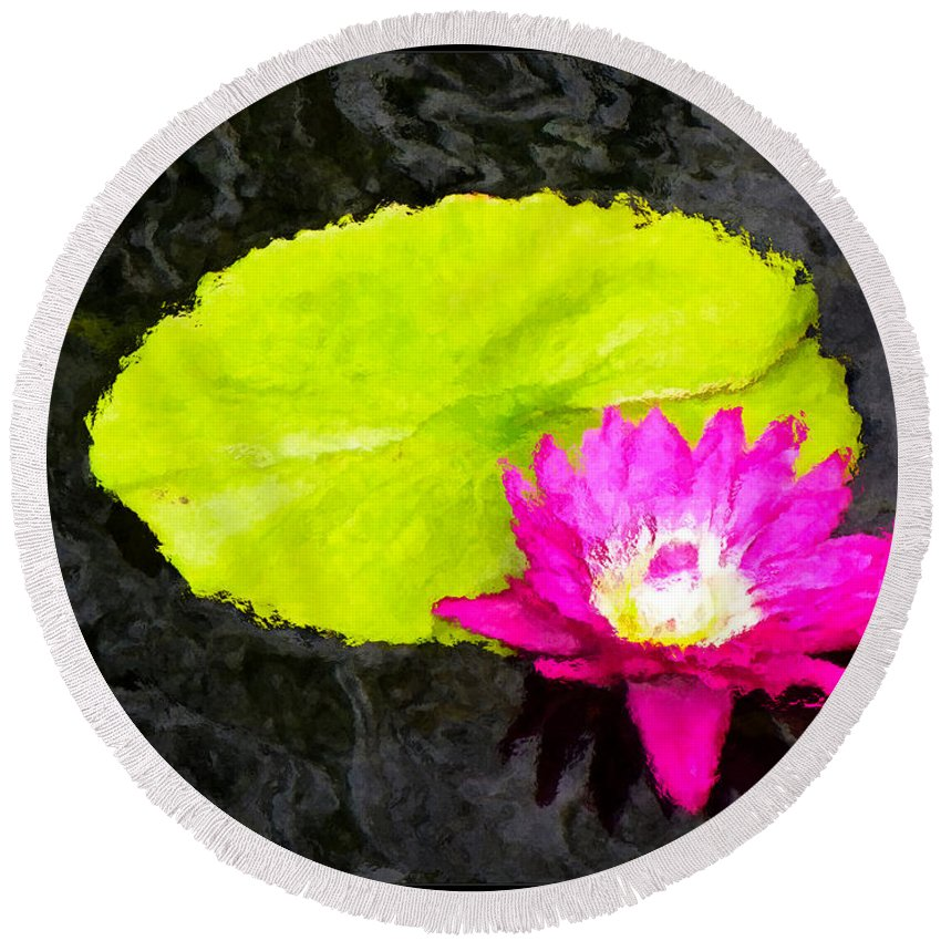 Still Life Round Beach Towel featuring the digital art The Lily Pad And Flower... by Tim Fillingim