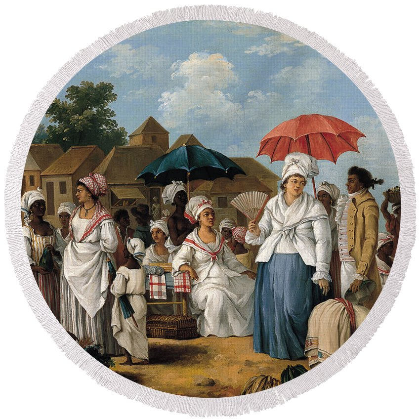 Agostino Brunias Round Beach Towel featuring the painting The Linen Market. Santo Domingo by Agostino Brunias