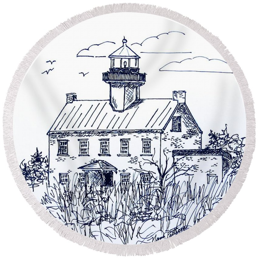 East Point Lighthouse Round Beach Towel featuring the drawing The Lines Of East Point Lighthouse In Blue 2 by Nancy Patterson