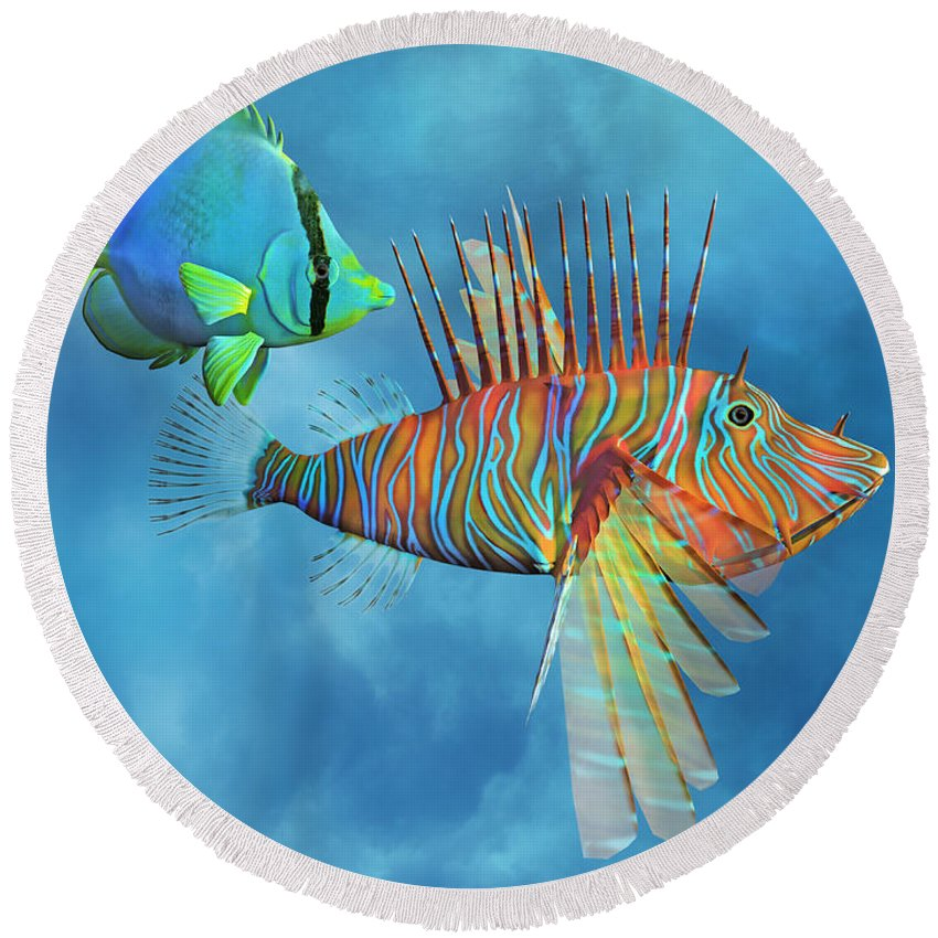 Lionfish Round Beach Towel featuring the digital art The Lion And The Butterfly by Betsy Knapp