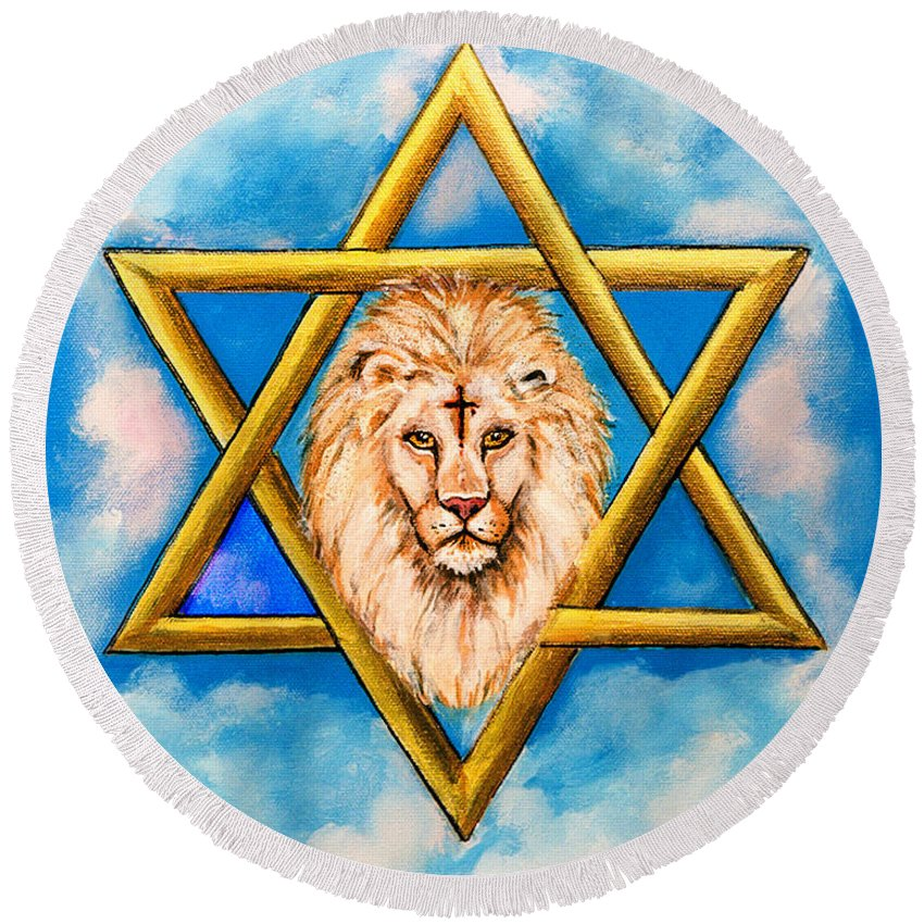 Anointed Round Beach Towel featuring the painting The Lion Of Judah #5 by Bob and Nadine Johnston