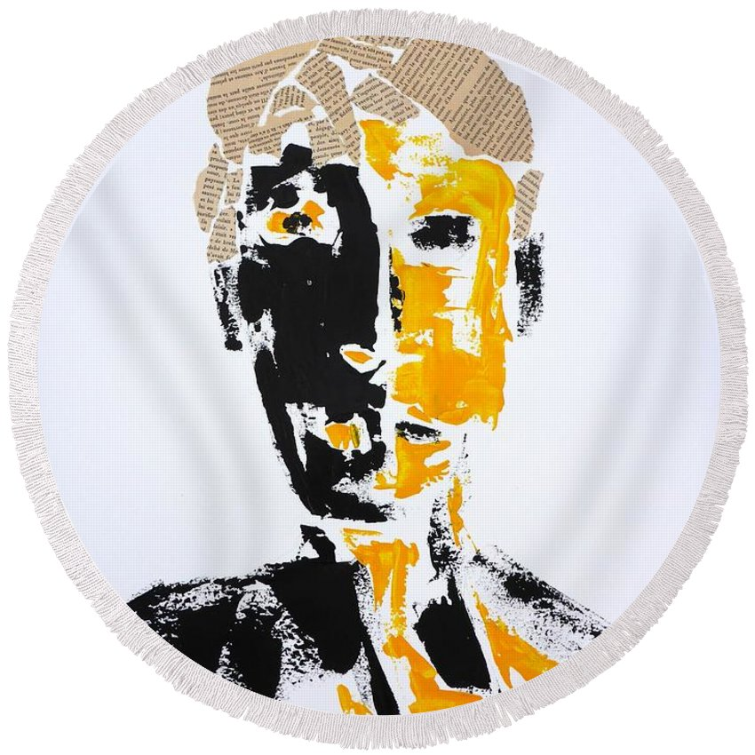 Mixed-media Round Beach Towel featuring the mixed media The Literary Man by Cristina Stefan