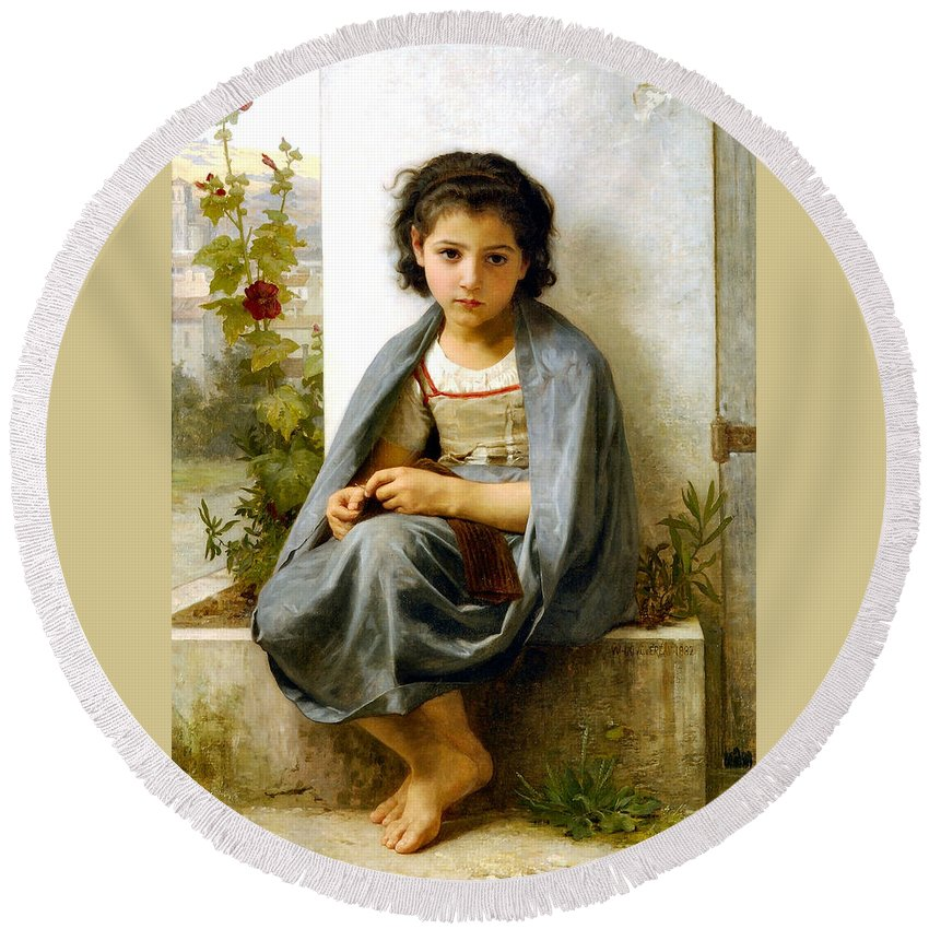 The Spinner Round Beach Towel featuring the digital art The Little Knitter by William Bouguereau