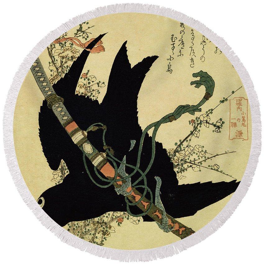 Hokusai Round Beach Towel featuring the painting The Little Raven With The Minamoto Clan Sword by Katsushika Hokusai