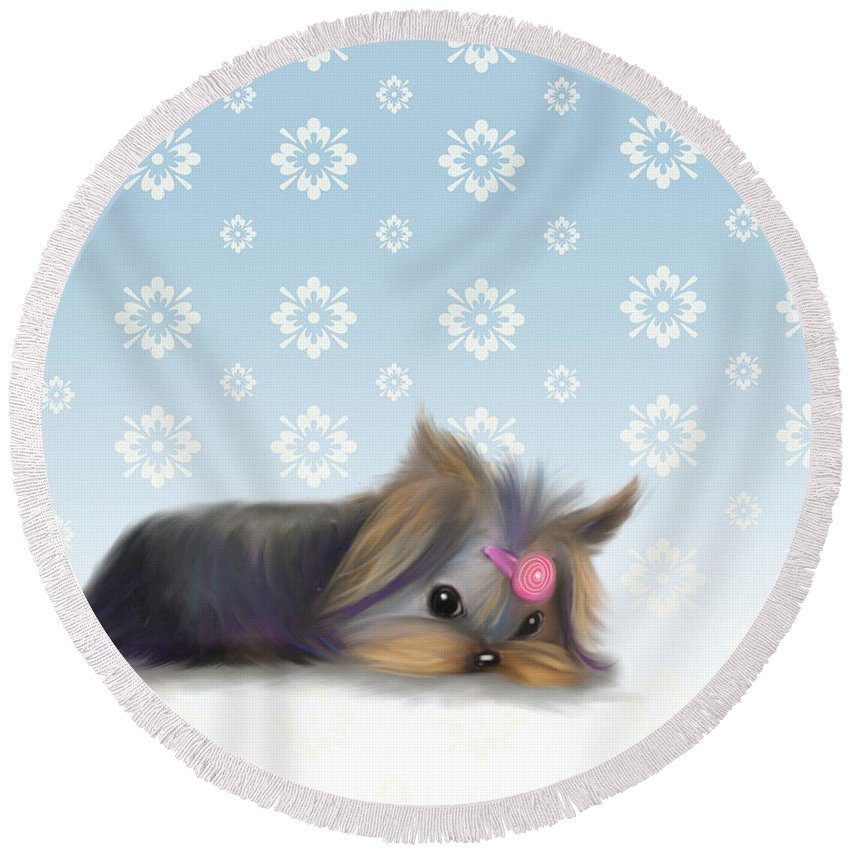 Yorkie Round Beach Towel featuring the mixed media The Little Thinker by Catia Lee