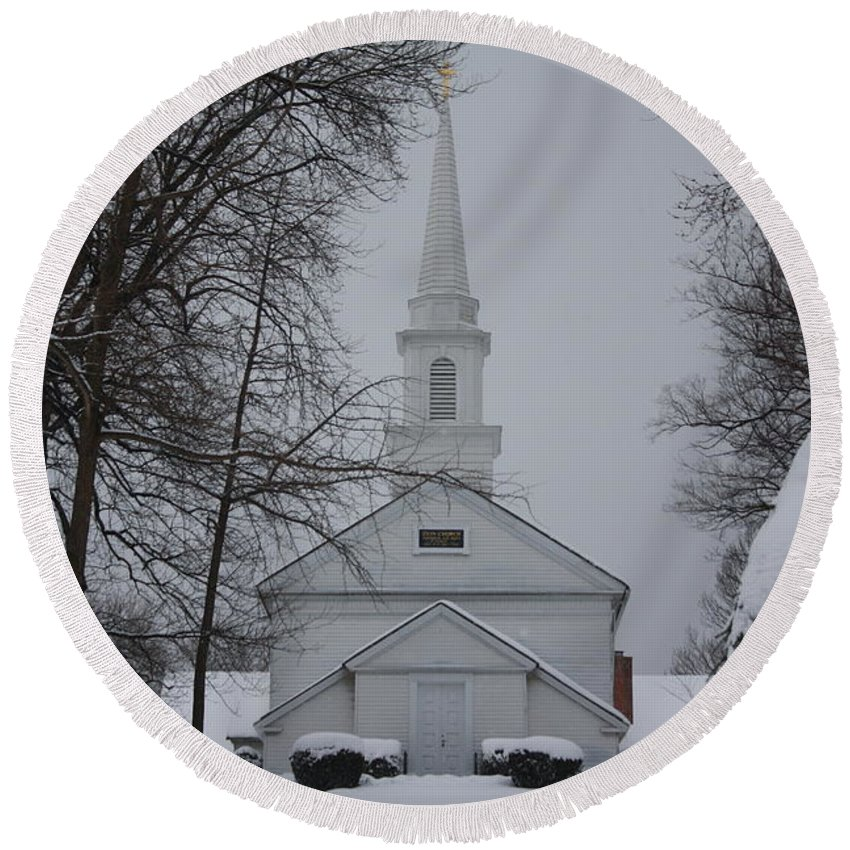 Winter Round Beach Towel featuring the photograph The Little White Church by Dora Sofia Caputo Photographic Design and Fine Art