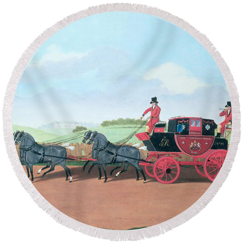 Post Round Beach Towel featuring the photograph The Liverpool And London Royal Mail Coach, 1812 Oil On Canvas by James Pollard
