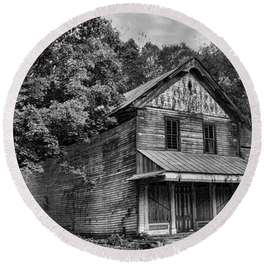 Dilapidated Round Beach Towel featuring the photograph The Local Haunted House by Heather Applegate
