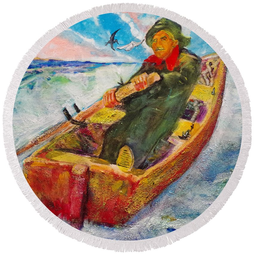 The Lone Boatman Round Beach Towel featuring the painting The Lone Boatman by Seth Weaver