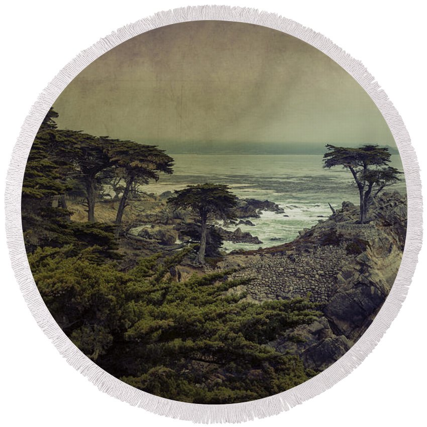 Lone Cypress Round Beach Towel featuring the photograph The Lone Cypress by Angela Stanton