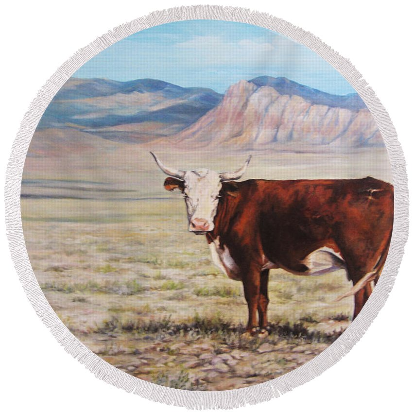 Nature Round Beach Towel featuring the painting The Lone Range by Donna Tucker