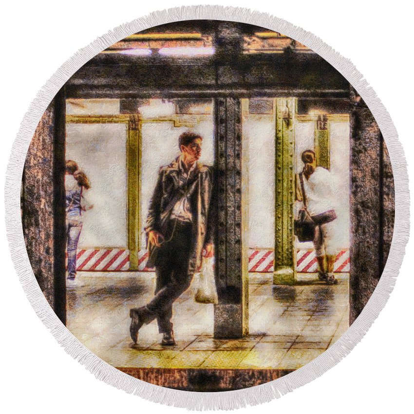 Mta; New York City; Nyc; Trains; Subway; Passengers; Train; Man; Woman; Transport; Metropolitan Transportation Authority; Public Transportation Round Beach Towel featuring the painting The Long Wait by Nishanth Gopinathan