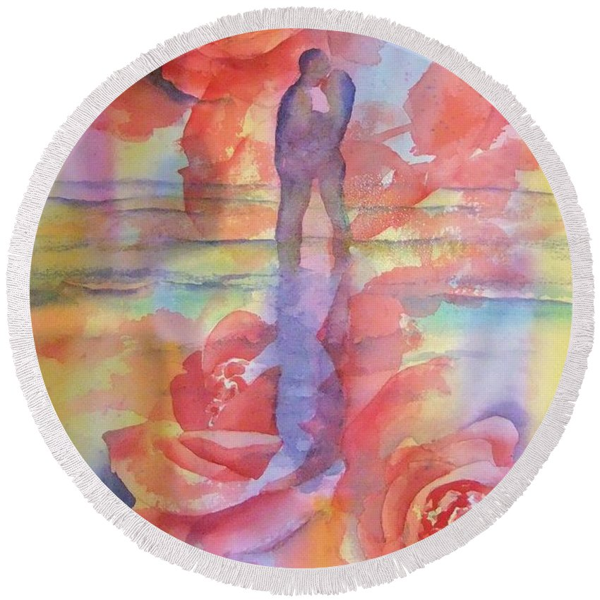 Kiss Round Beach Towel featuring the painting Eternal Love by Debbie Lewis