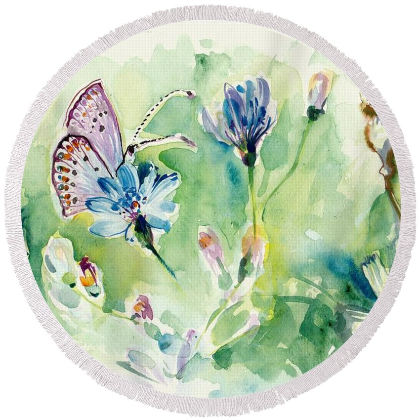 Butterfly And Chicory Round Beach Towel featuring the painting The Love Between Butterfly And Chicory by Tiberiu Soos