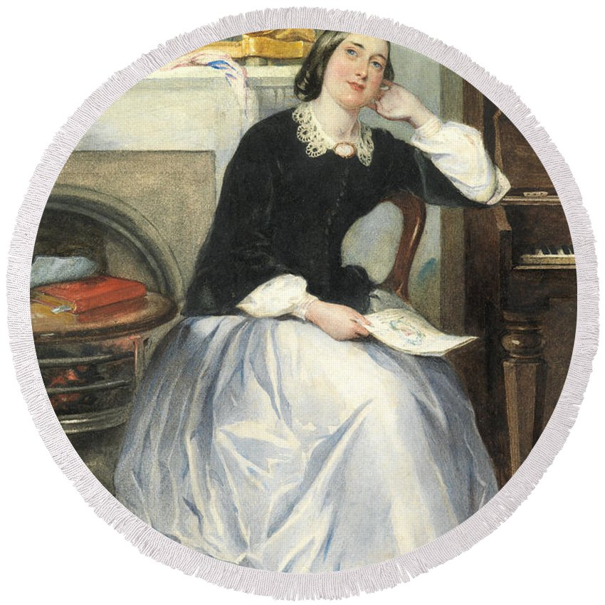Female Round Beach Towel featuring the painting The Love Token by Frederick Walker