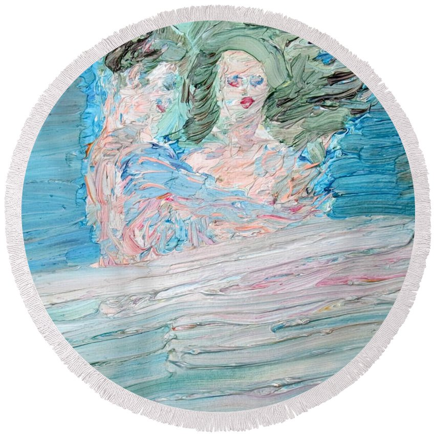 Lover Round Beach Towel featuring the painting The Lovers And The Bed by Fabrizio Cassetta