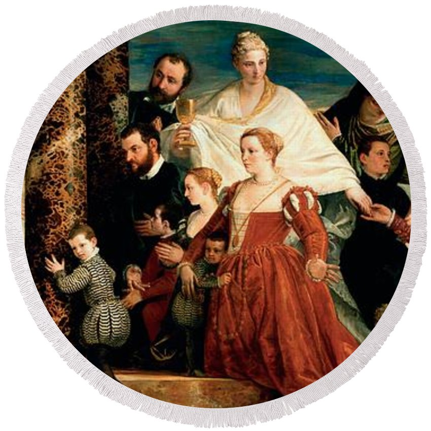 1571 Round Beach Towel featuring the painting The Madonna Of The Cuccina Family by Paolo Veronese